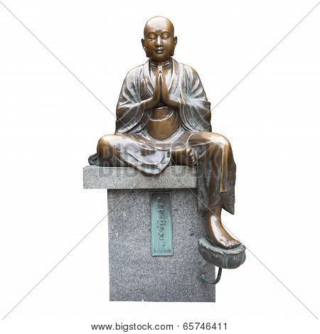 Isolated Metal Monk Statue Overwhite Background