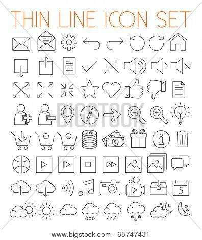 Collection of thin line modern vector icons.