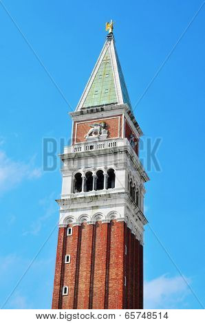 view of the top of the St Marks Campanile in Venice, Italy