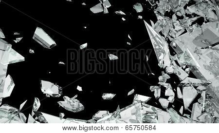 Sharp Pieces Of Shattered Glass Isolated