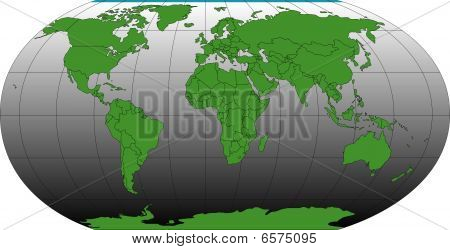 World Robinson Map with Countries and Longitude, Latitude Lines