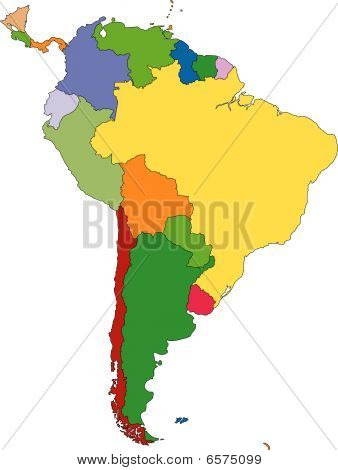 South America with editable Countries