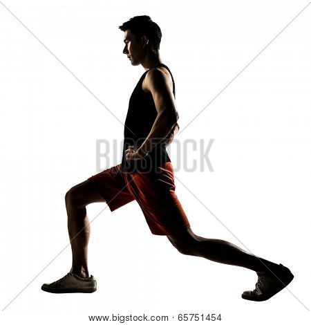 Asian man exercising fitness workout lunges crouching in silhouette on white background.
