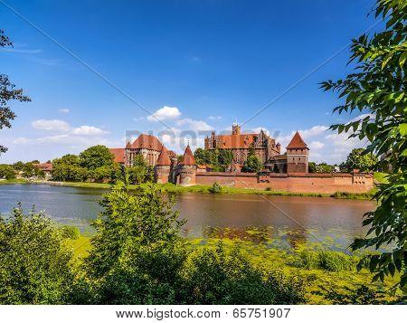 Picturesque panorama of Malbork castle in Pomerania region, Poland