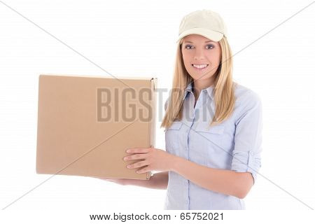 Post Delivery Service Woman With Box Isolated On White