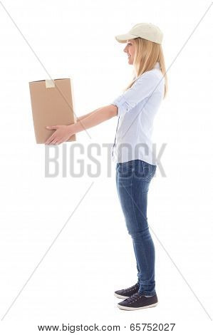 Post Delivery Service Woman Giving Box Isolated On White