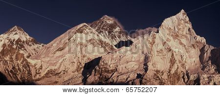 Everest Summit Panoramic View With Lhotse And Nuptse Peaks