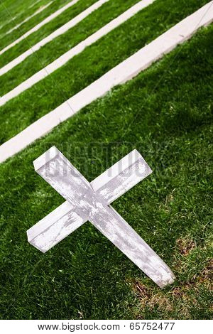White Cross In A Old Cemetery
