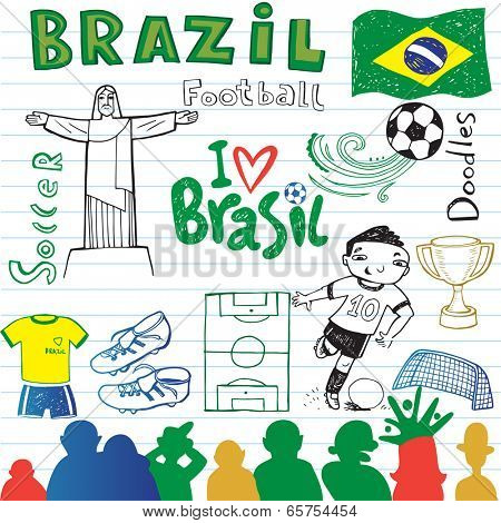 Brazilian soccer, set of sketches.