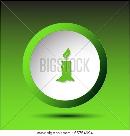 Candle. Plastic button. Vector illustration.