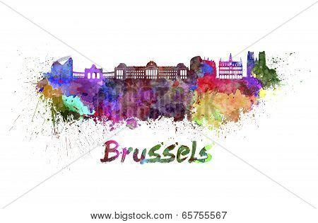 Brussels Skyline In Watercolor