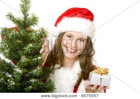 Young Smiling Santa Woman Near Fir Tree Holds Christmas Gift In Hand