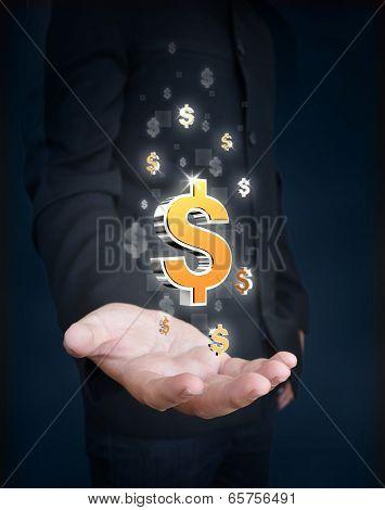 Man Hand Holding Dollar Symbol