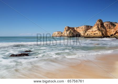 Beautiful Seascape Beach In Albufeira. Blurred Waves.