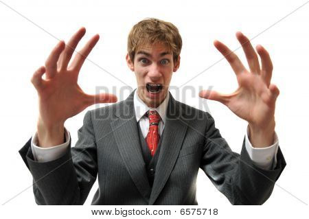 Frustrated Businessman In Suit Screaming