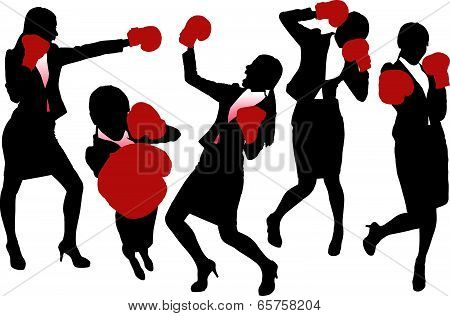 Silhouettes Of Business Woman Boxing