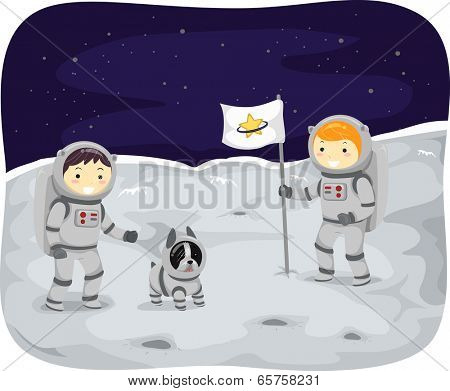 Illustration of Kids Wearing Space Suits Walking on the Moon
