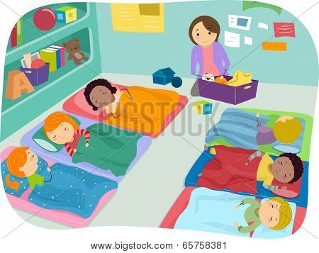 Illustration of Preschoolers Taking a Nap