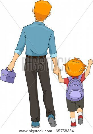 Illustration of a Father and Son Walking to School