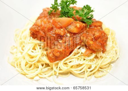 Pasta With Meat Sauce And Fresh Parsley