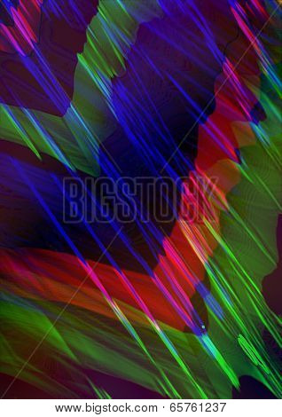 Dark blue background with bright red and green angles