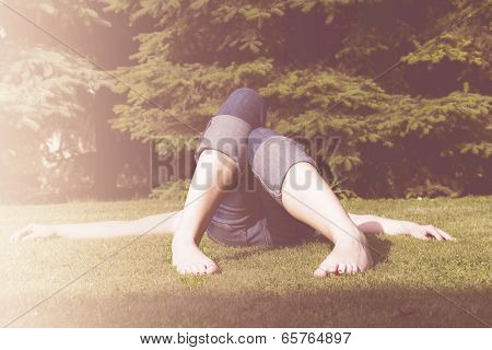 Woman In Jeans Relaxing