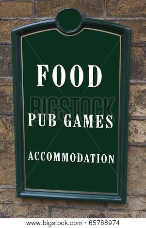 hotel sign. pub. food. accomodation