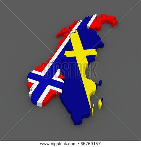 Norway and Sweden. map. 3d