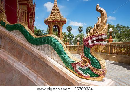 Element Of Thai Mythologycal Character Golden Naga (snake), As Part Of Chalong Temple, Phuket, Thail