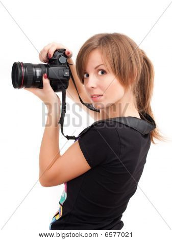 Pretty Girl With Photo Camera