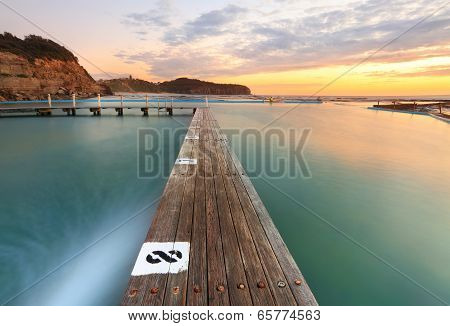 North Narrabeen Tidal Pool From Lane 8 At Sunrise