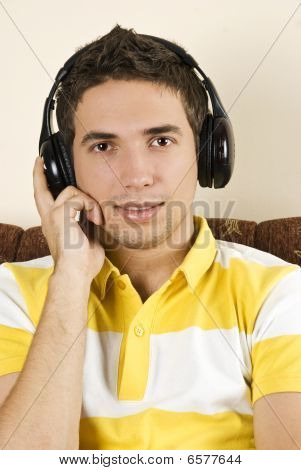 Young Male Enjoy The Music