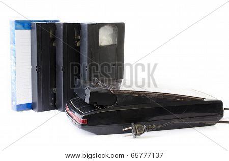 Video Cassette And Vintage Vhs Rewinder