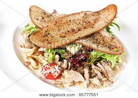 Warm Salad With Veal And Mushrooms