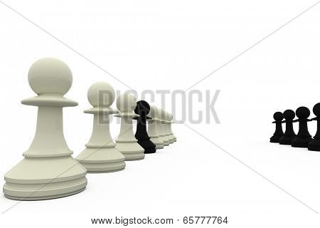 Black pawn spy standing with white pieces on white background