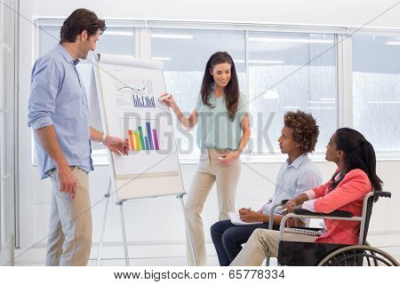 Attractive business team presenting graphs and their work to fellow employees