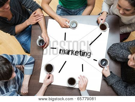 The word marketing on page with people sitting around table drinking coffee