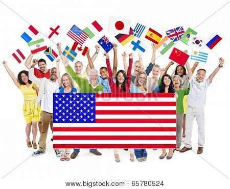 Group Of Multi-Ethnic Group Of People Holding National Flags With Positivity
