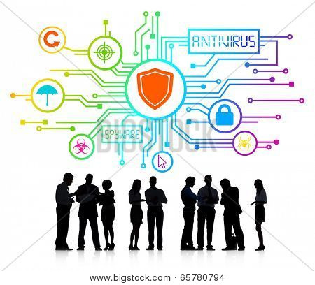 Silhouettes of Business People with Antivirus and Spyware Concept