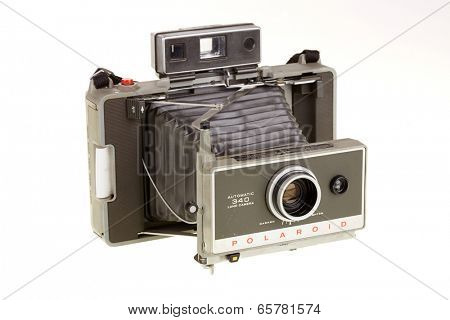 PRAGUE, CZECH REP - MAY 28, 2014: Polaroid Land camera 340 for instant photography from Mid 60's - Mid 70's