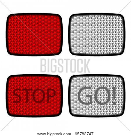 vector bicycle reflectors red white