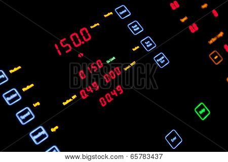 Fragment Of Illuminated Ship Control Panel In The Dark. Selective Focus