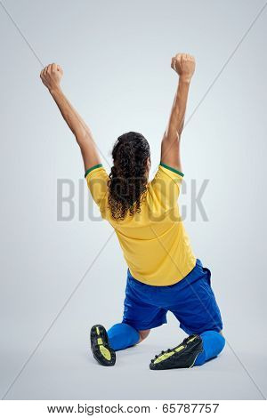 celebrating soccer brazil man in brasil kit for world cup football