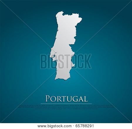 vector Portugal Map card paper on blue background, high detailed