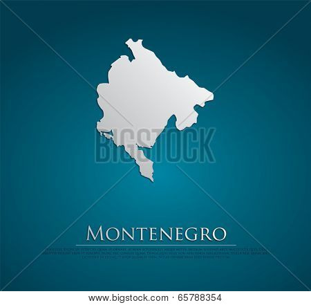 vector Montenegro Map card paper on blue background, high detailed