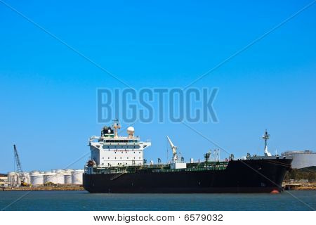 Brisbane Harbor Tanker And Petroleum Storage Tanks