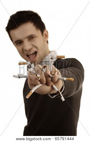 Man Whose Breaking Cigarettes