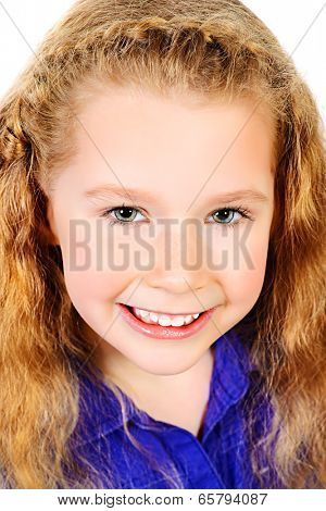 Portrait of a pretty joyful girl with a beautiful smile looking at camera. Isolated over white.