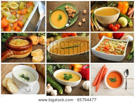 Collage showing different kind of soup like vegetables, carrot, onion