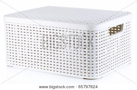 Plastic basket for storing things isolated on white